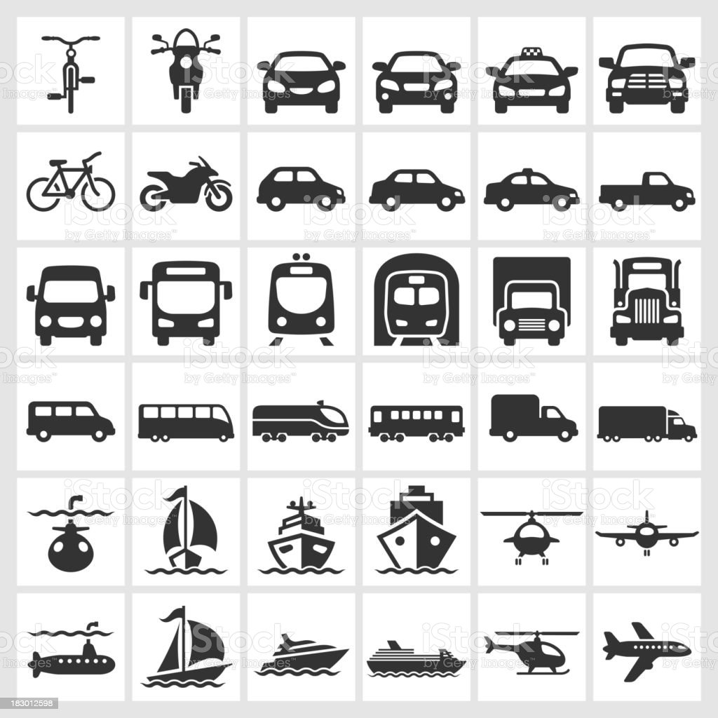 Transportation Vehicles Black & White Icon Set vector art illustration