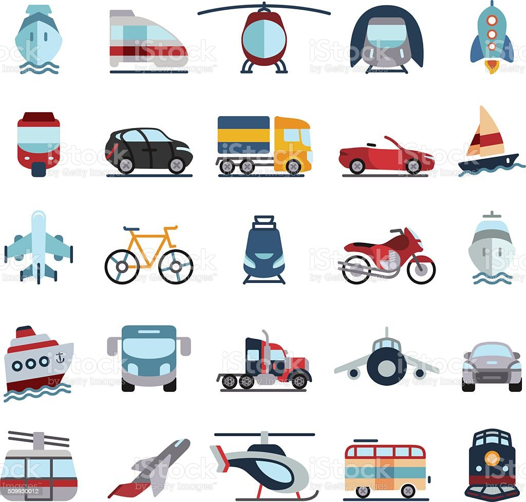 Transportation Vehicles Flat Icons vector art illustration