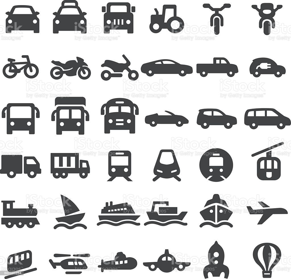Transportation Vehicles Icons - Big Series vector art illustration