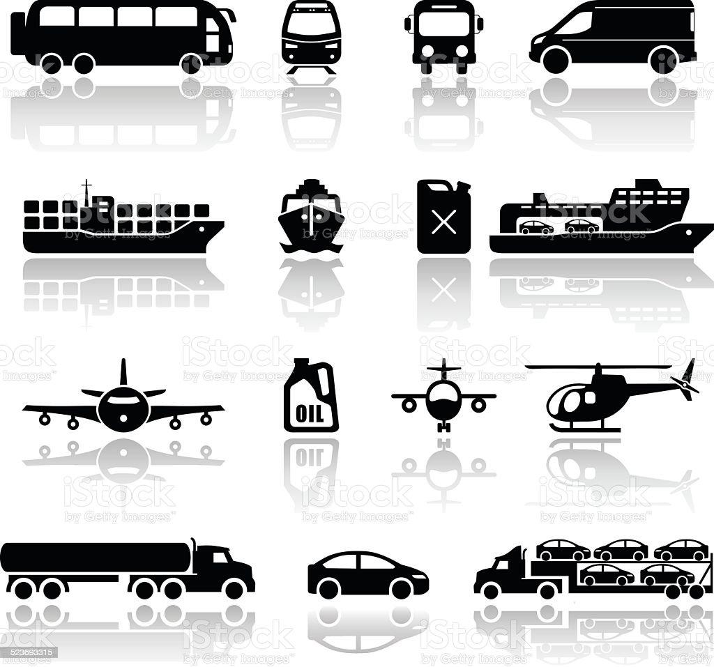 Transportation vehicles icons. Vectors vector art illustration