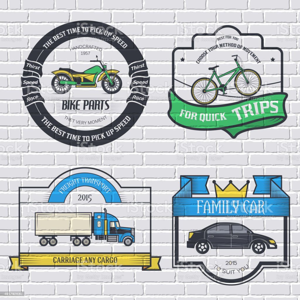 transports set retro label template of emblem vector art illustration