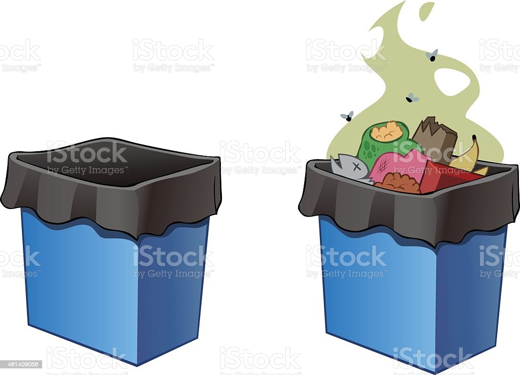 Trash bins, full and empty. vector art illustration