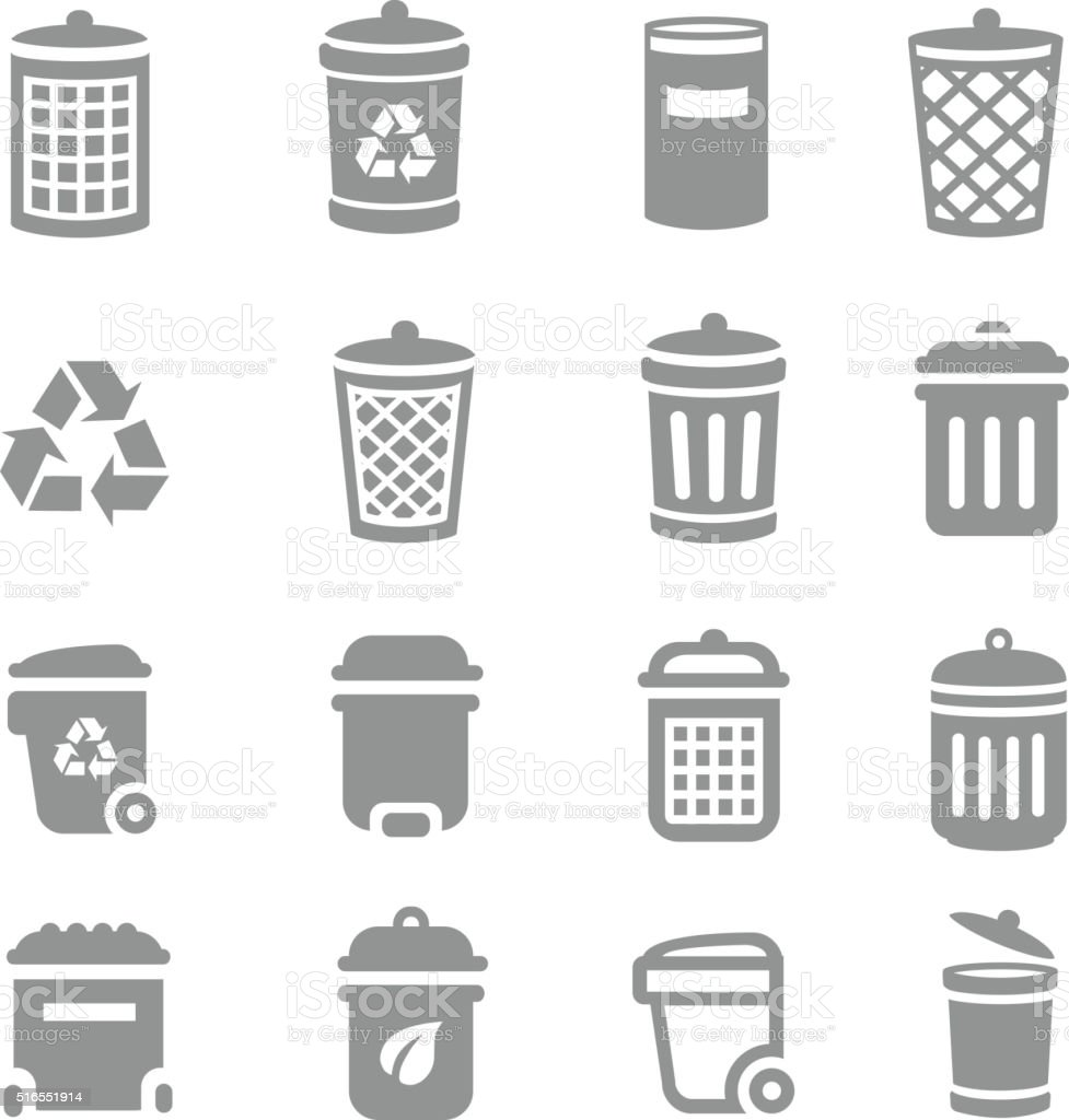 Trash can and recycle bin icons. Garbage, rubbish, vector art illustration