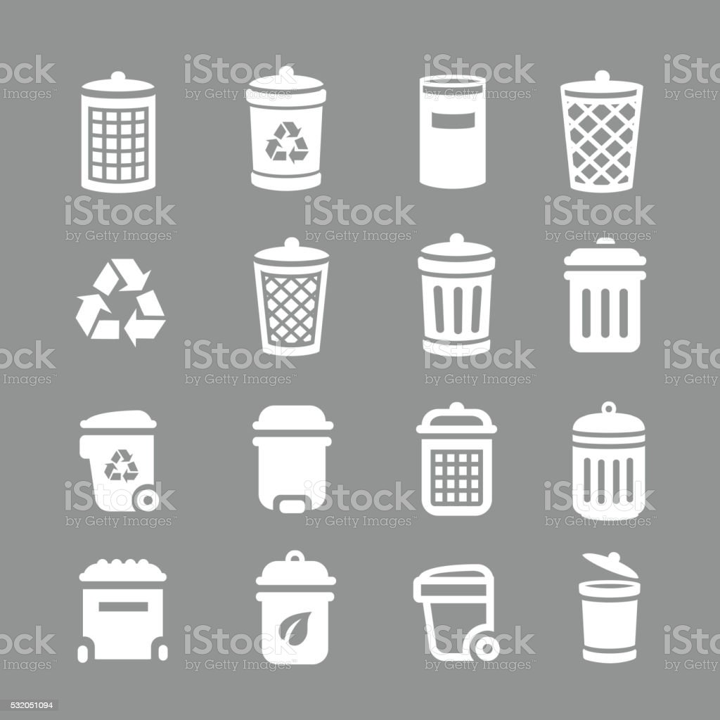 Trash can and recycle bin icons. Garbage, rubbish. vector art illustration