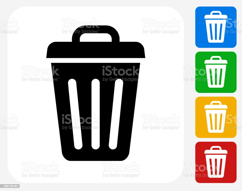 Trash Can Icon Flat Graphic Design vector art illustration