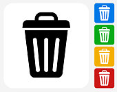 Trash Can Icon Flat Graphic Design