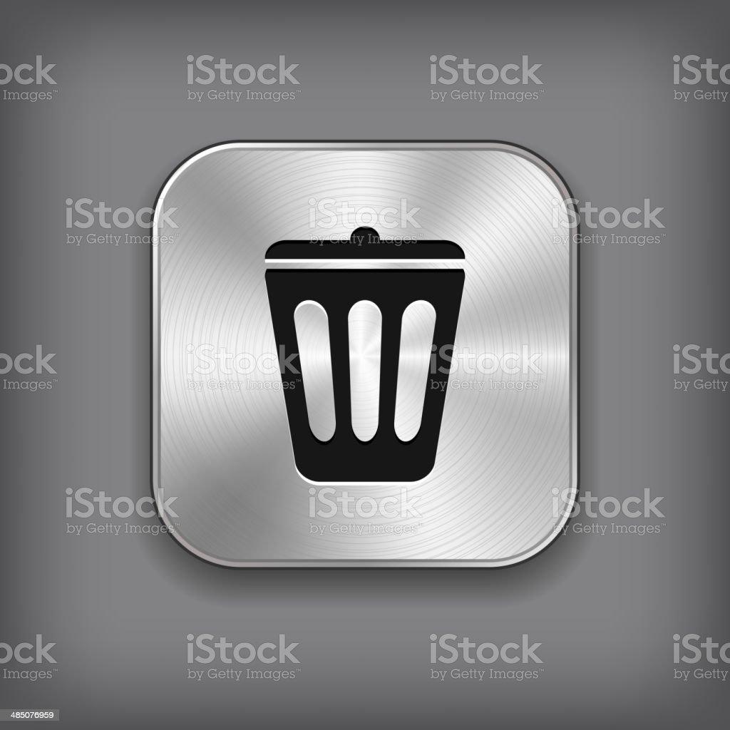 Trash can icon -  vector metal app button royalty-free stock vector art