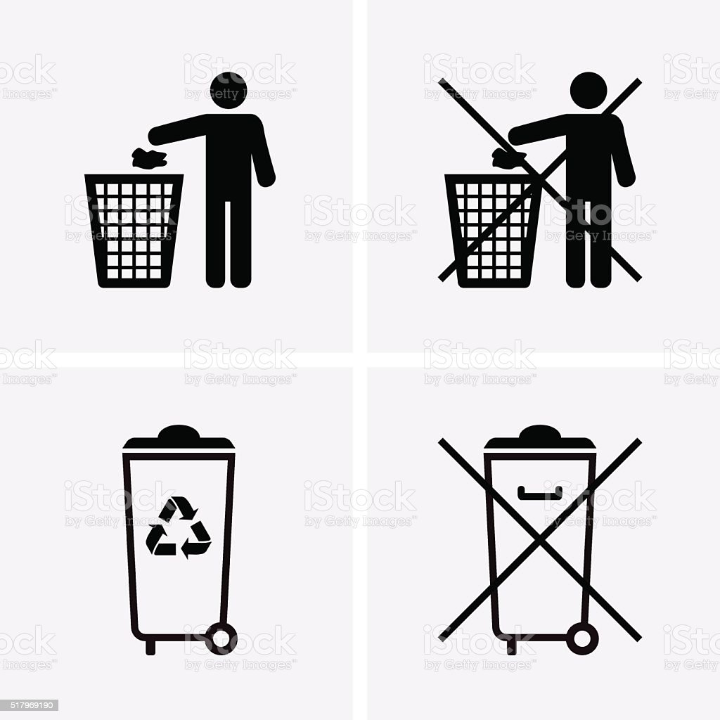 Trash Can Icons. Waste Recycling. Do Not Litter. vector art illustration