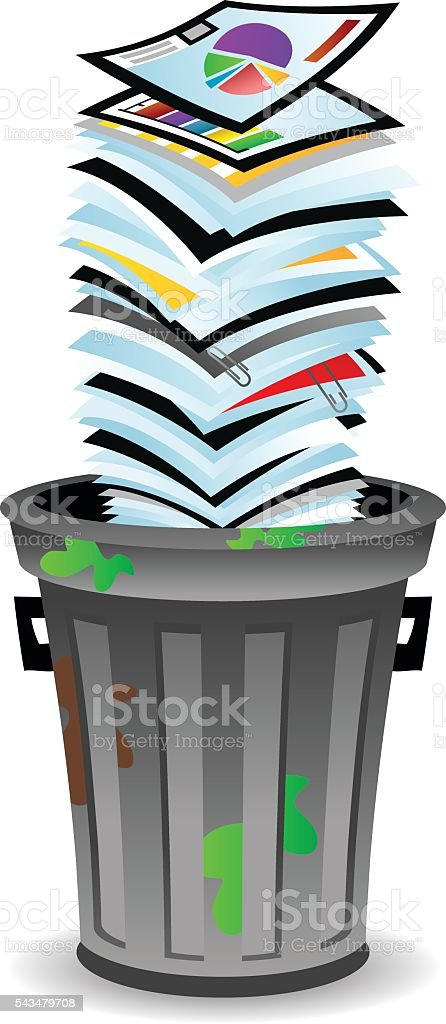 Trash Can Papers vector art illustration