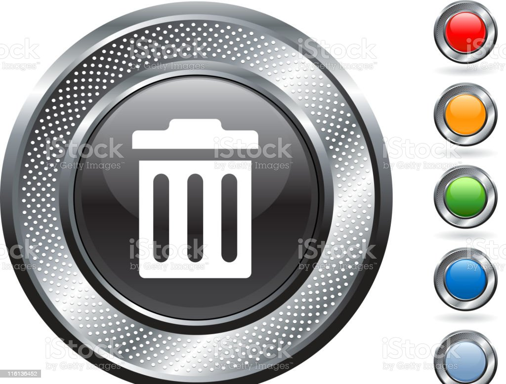 trash can royalty free vector art on metallic button royalty-free stock vector art