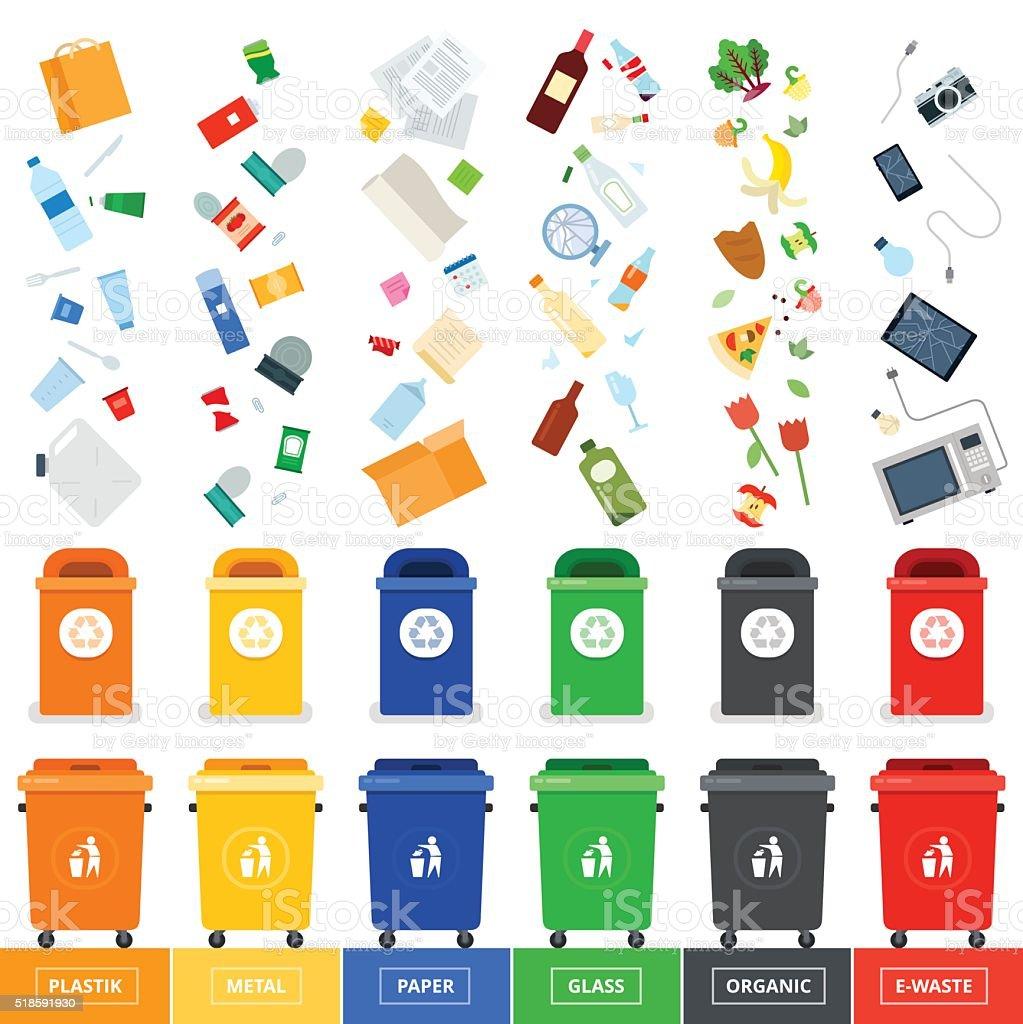 Trash cans with srted garbage vector art illustration