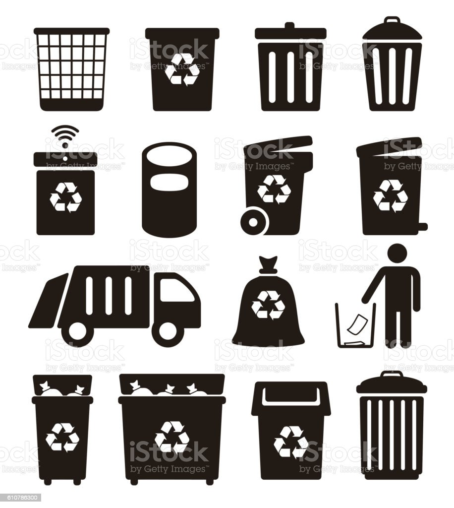 trash, garbage and Recycling Can icons, vector illustration vector art illustration