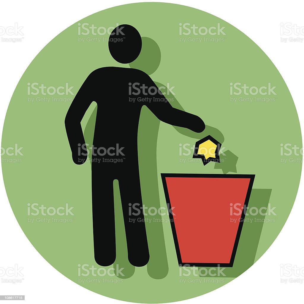 trash receptacle icon vector art illustration