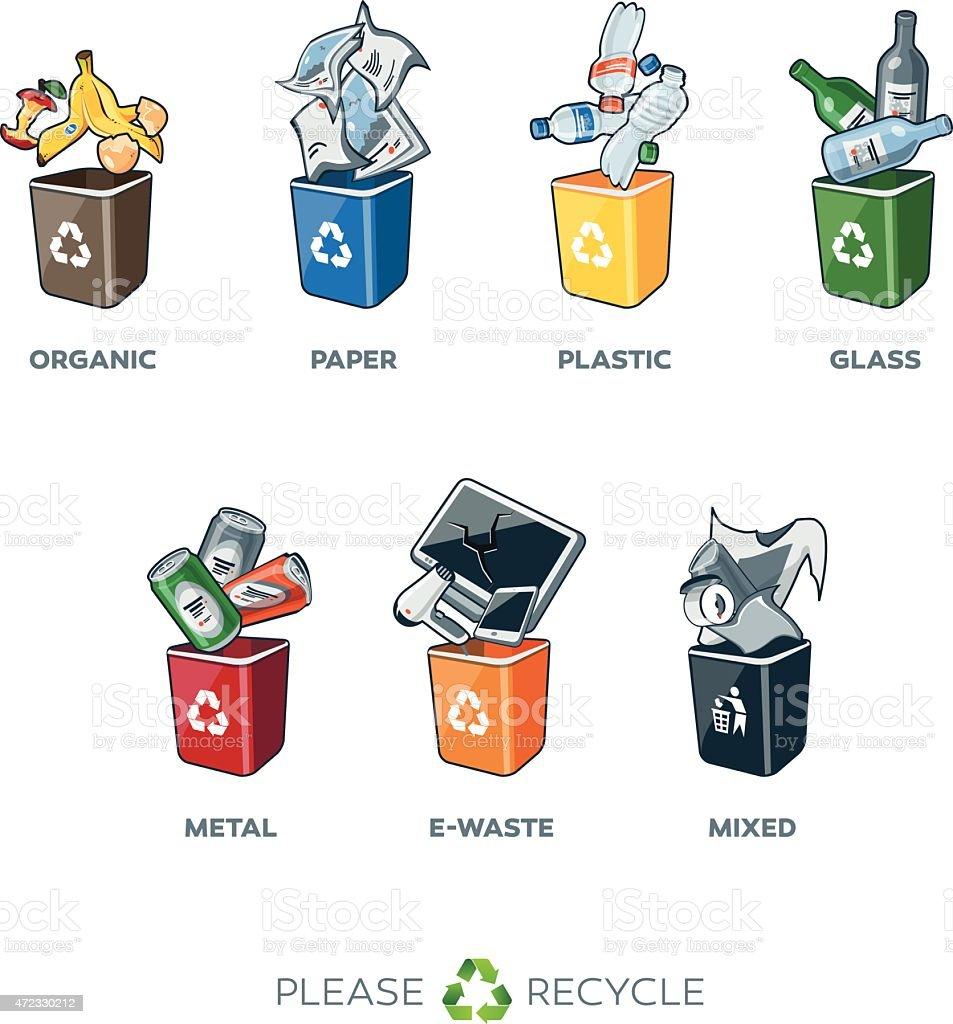 Trash Segregation Bins with Waste vector art illustration