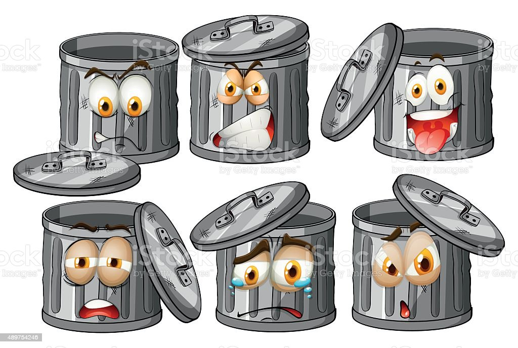 Trashcan with facial expressions vector art illustration