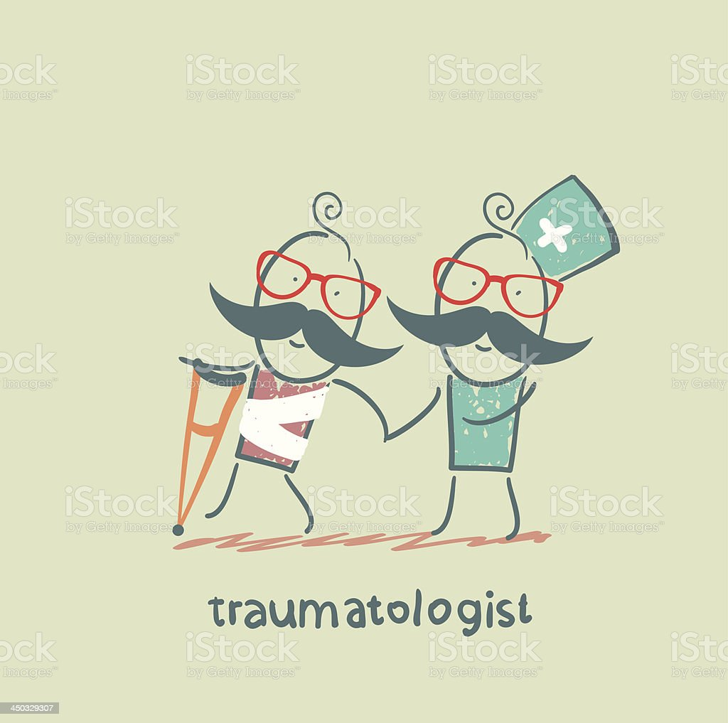 traumatologist helps the patient with trauma royalty-free stock vector art