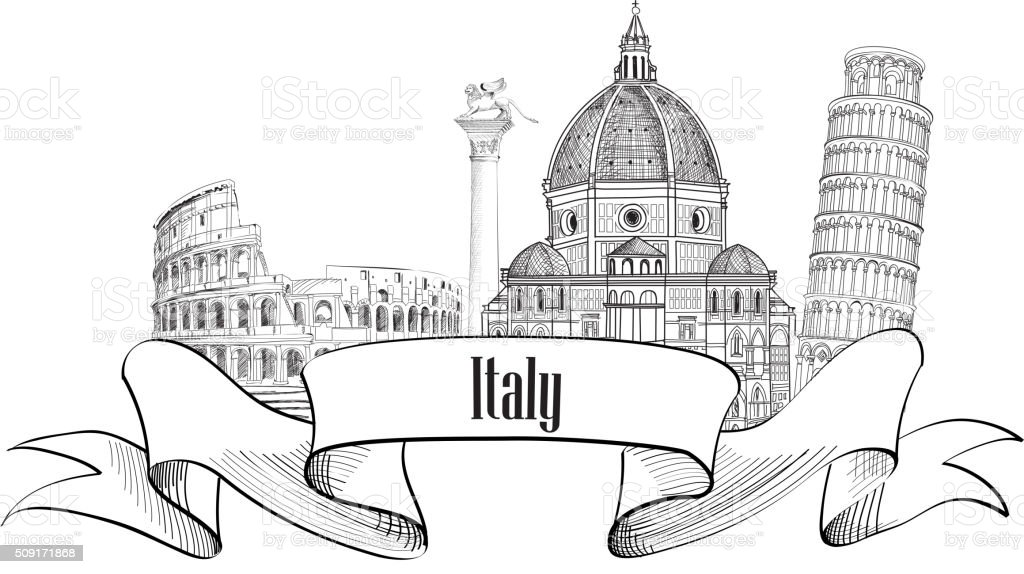 Trave Italy label. Italy skyline. Famous italian city places in skyline vector art illustration