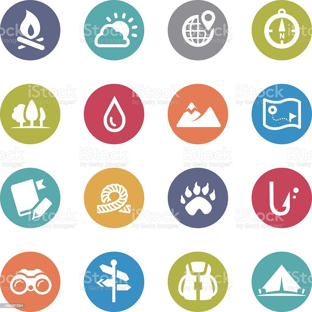 Travel, Adventure and Camping Icons - Circle Series vector art illustration