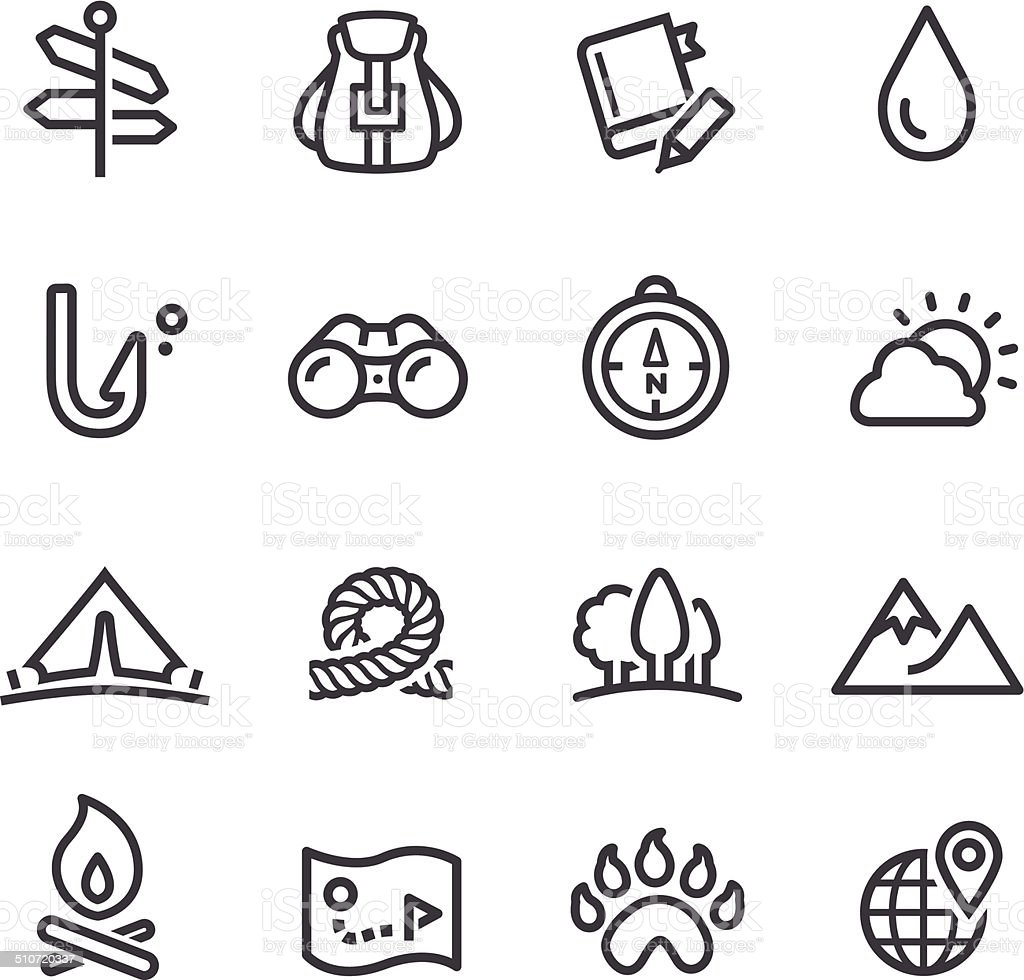 Travel, Adventure and Camping Icons - Line Series vector art illustration