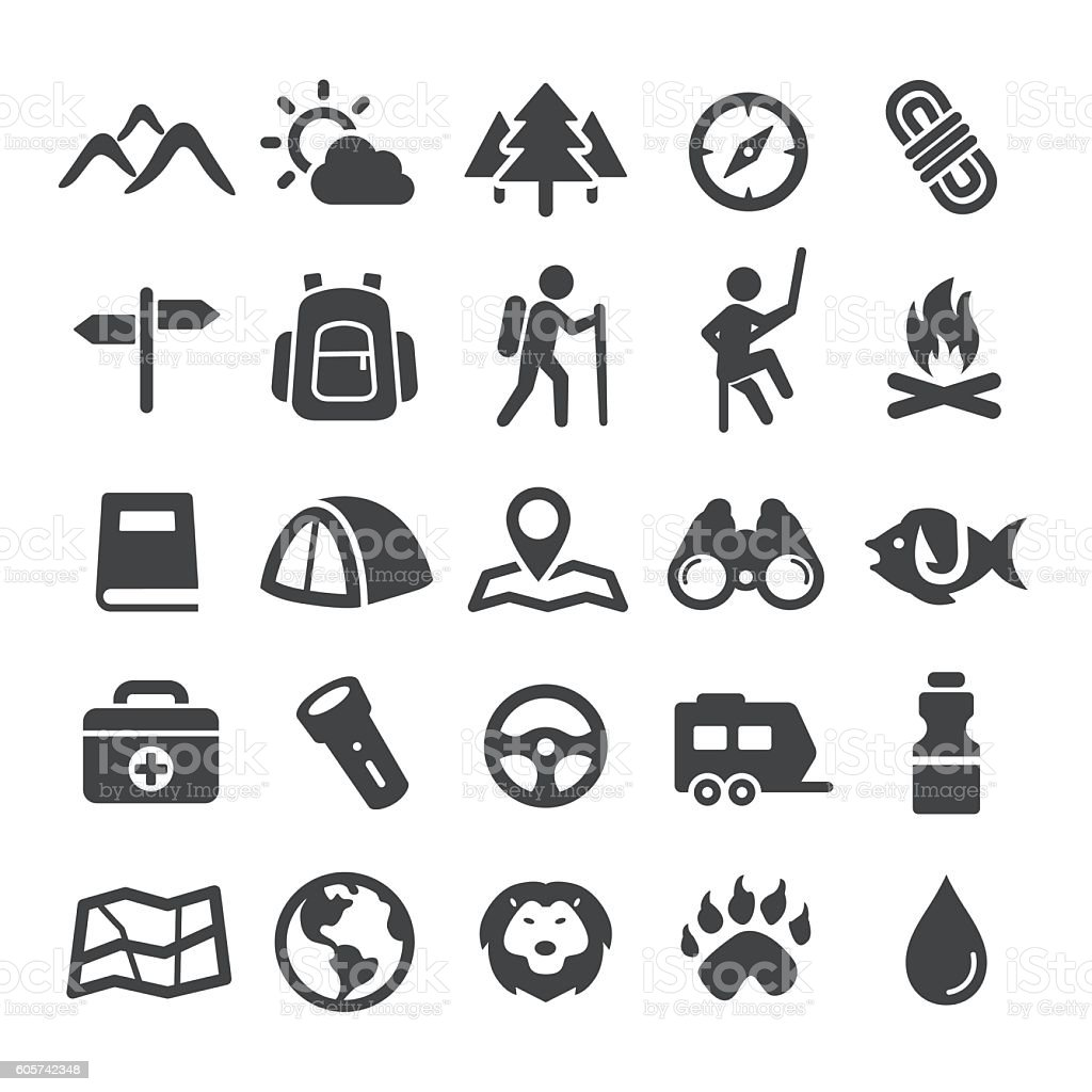 Travel, Adventure and Camping Icons - Smart Series vector art illustration