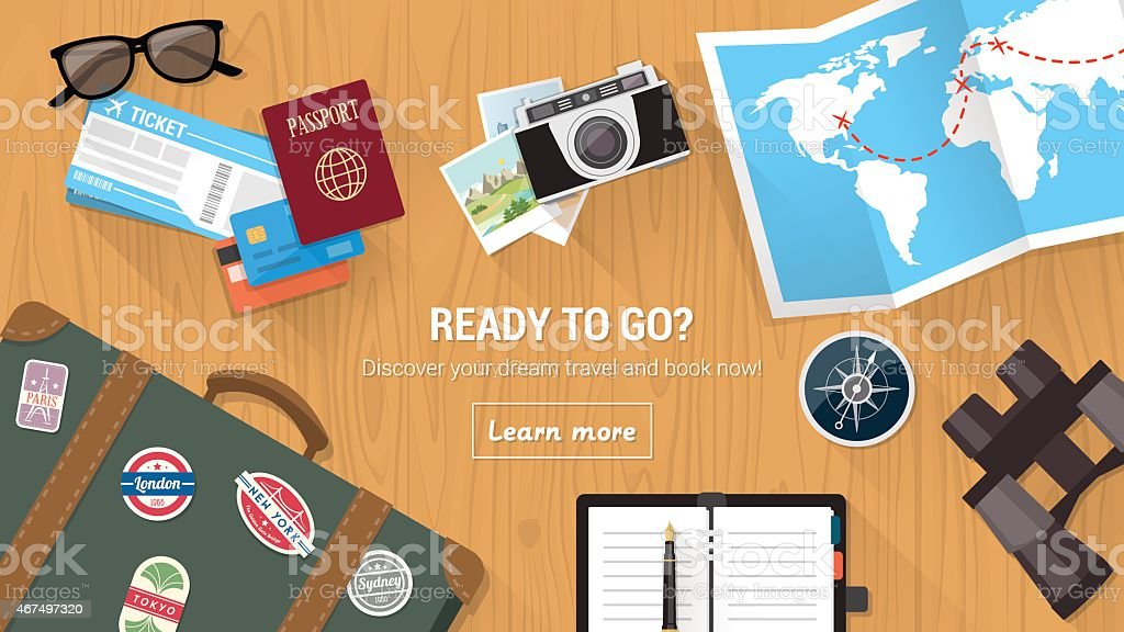 A travel agency as with various travel icons vector art illustration