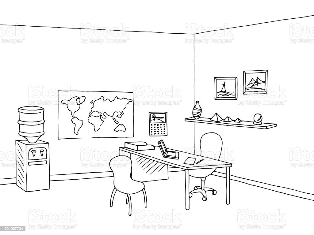 Travel agency office interior graphic black white sketch illustration vector vector art illustration