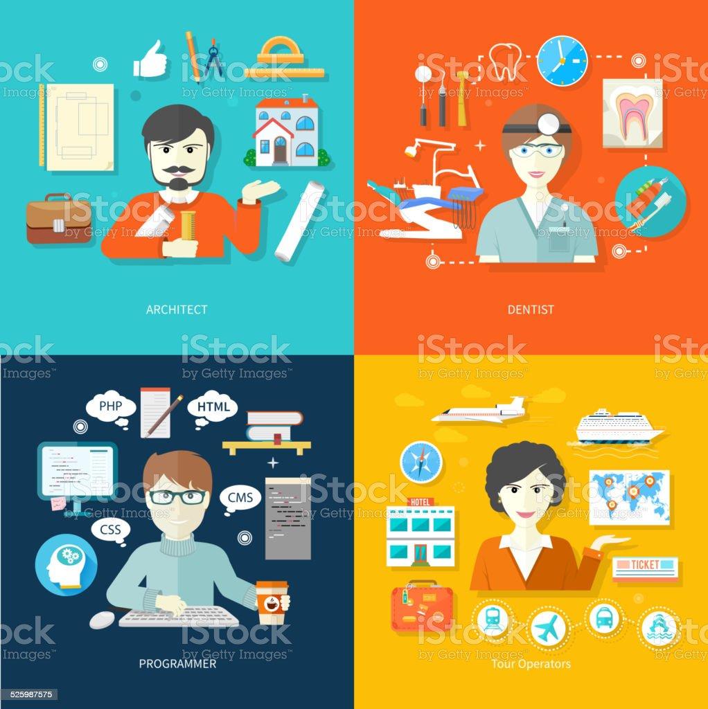 travel agent, architect, dentist and programmer vector art illustration