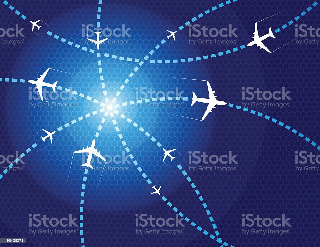 Travel airplanes vector art illustration