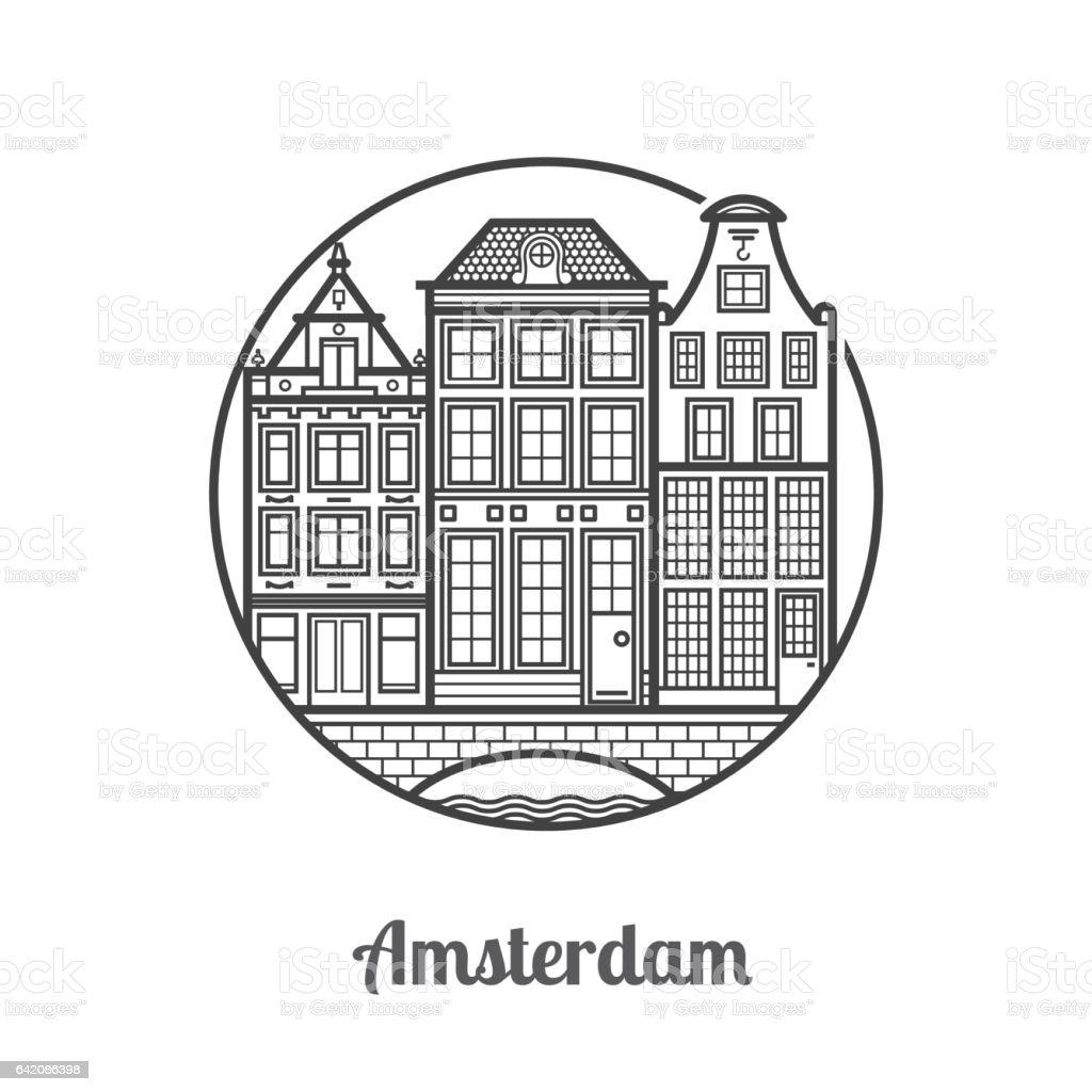 Travel Amsterdam Icon vector art illustration