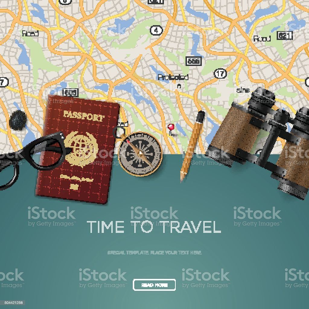 Travel and adventure template, time to travel vector art illustration