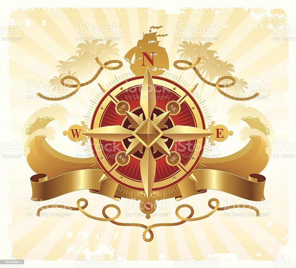 Travel and adventures vintage emblem with golden compass rose vector art illustration