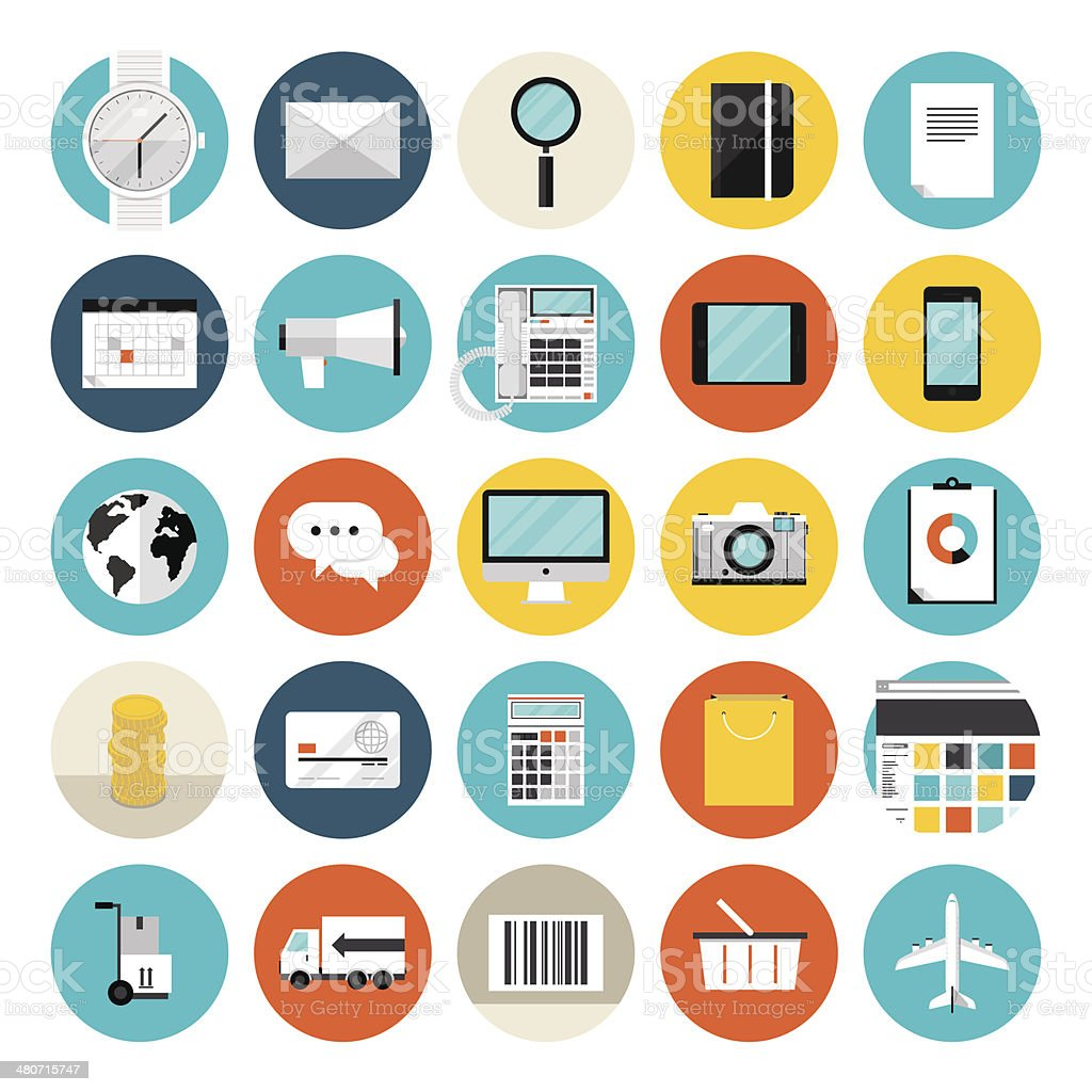 E-commerce and shopping flat icons vector art illustration