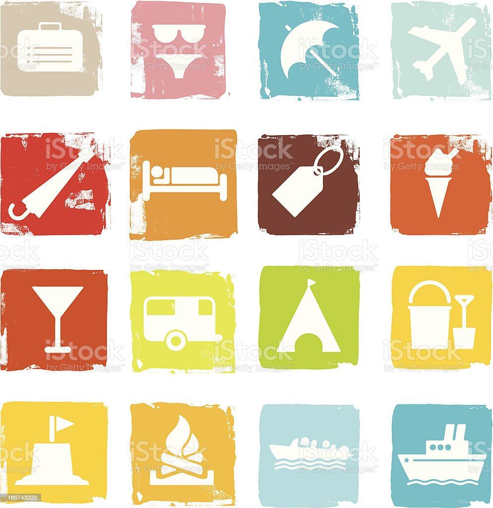Travel and holiday icons on grunge blocks royalty-free stock vector art