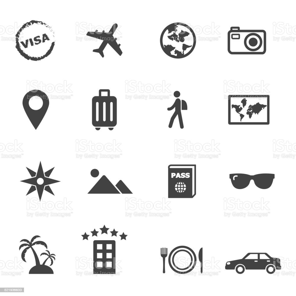 travel and holiday icons vector art illustration