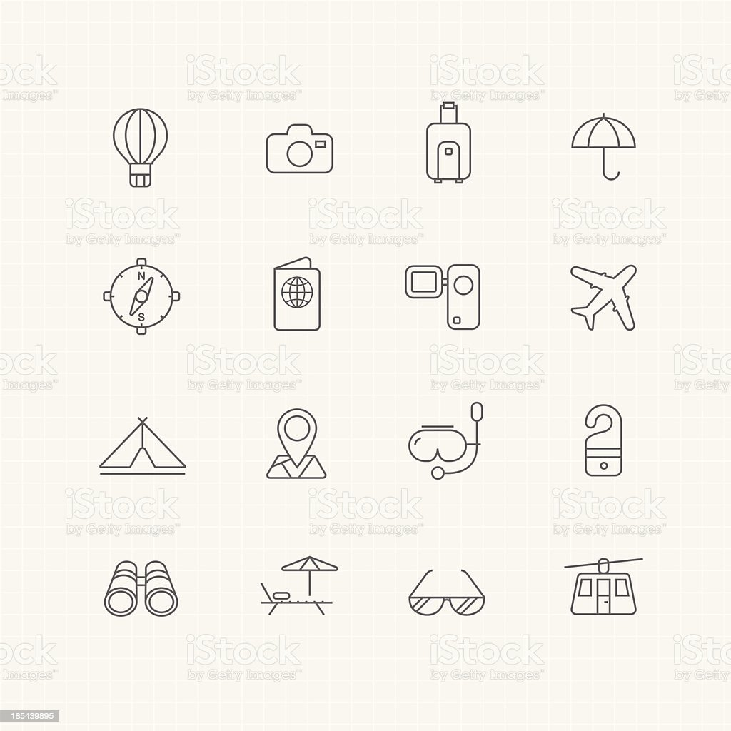 travel and holiday vector thin line symbol icon royalty-free stock vector art