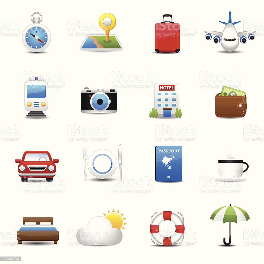 Travel and hotel icons royalty-free stock vector art