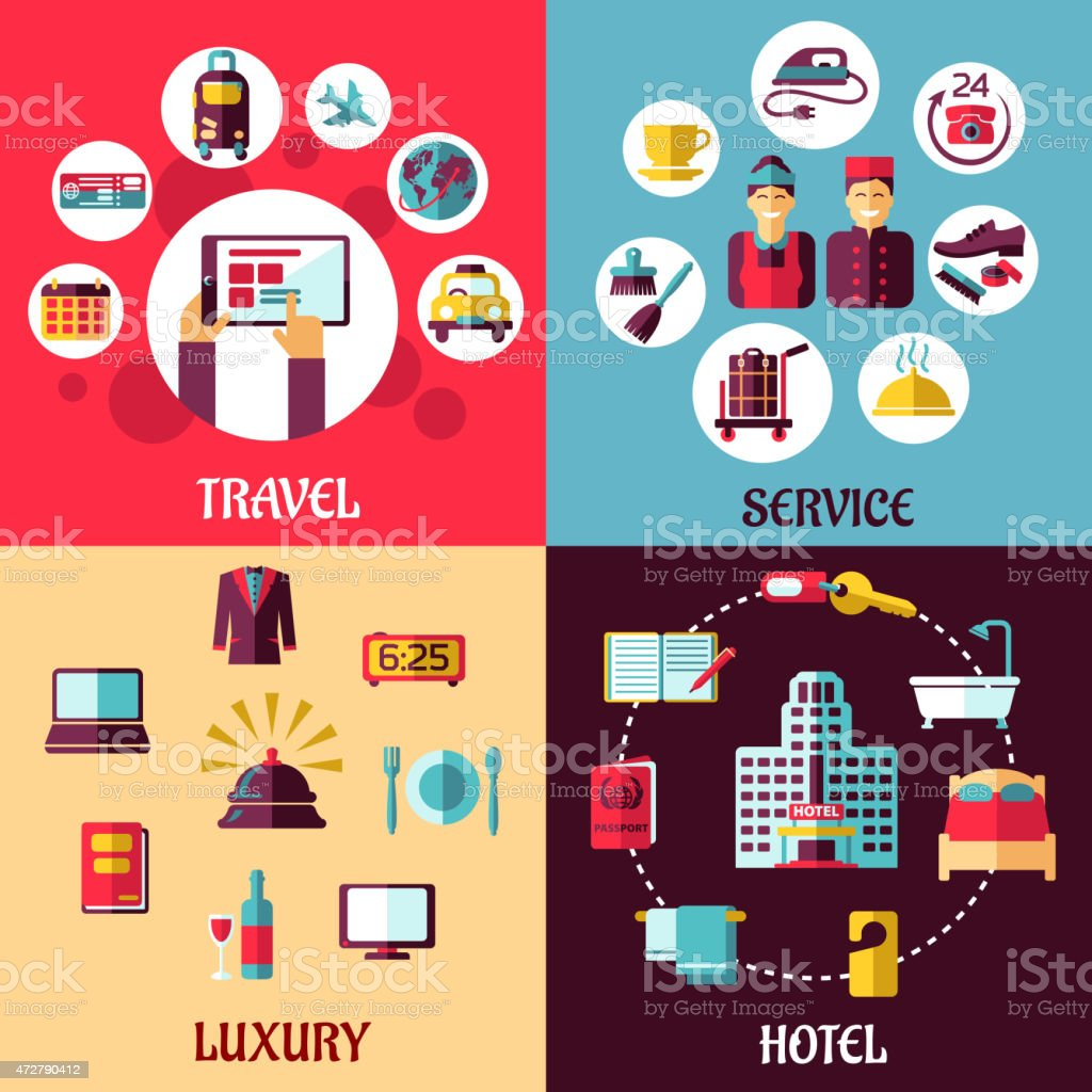 Travel and hotel services flat concept vector art illustration