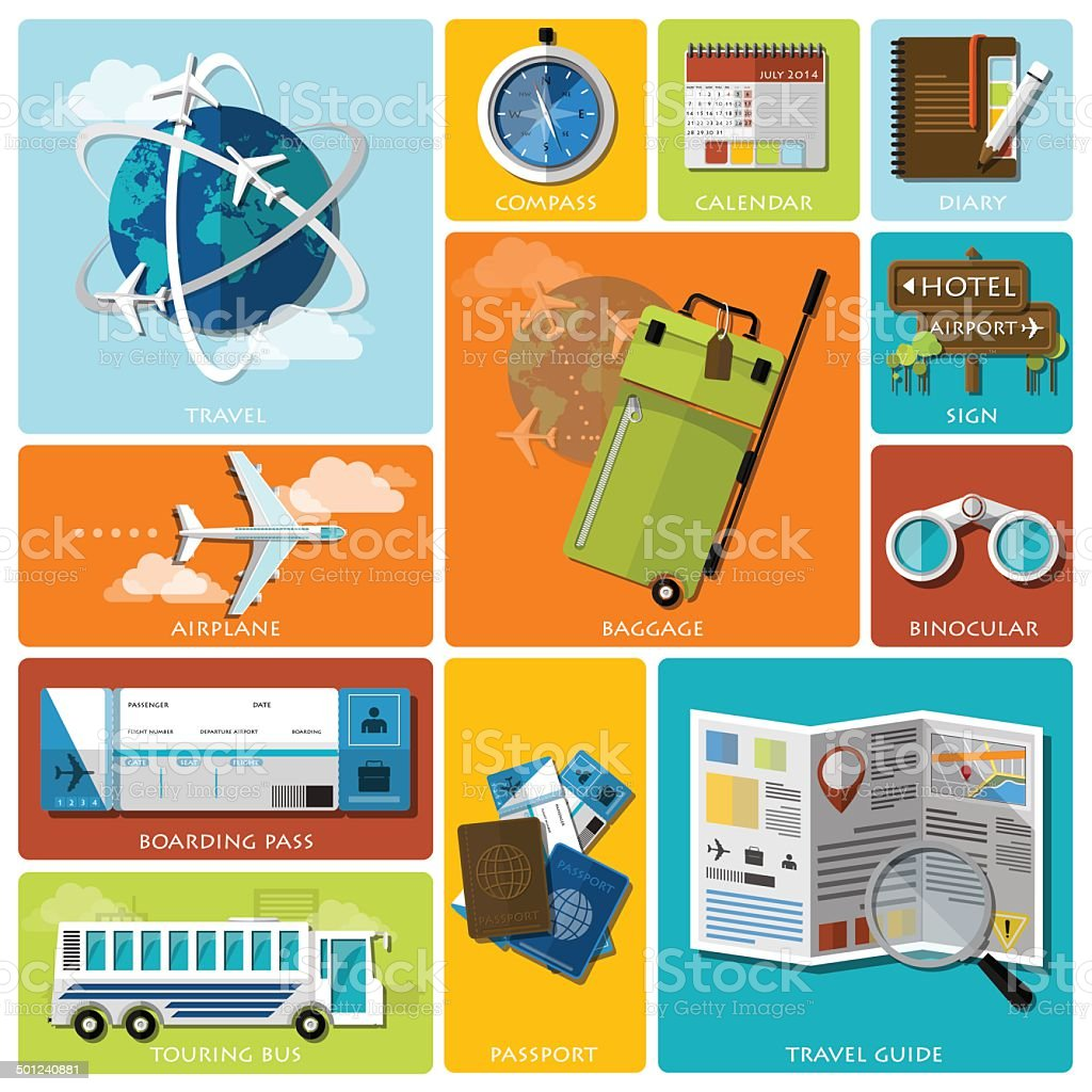 Travel And Journey Flat Icon Set vector art illustration