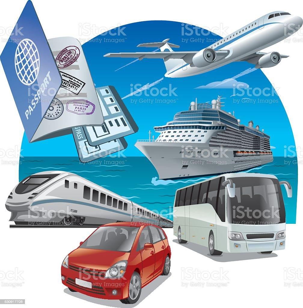 travel and journey transport vector art illustration