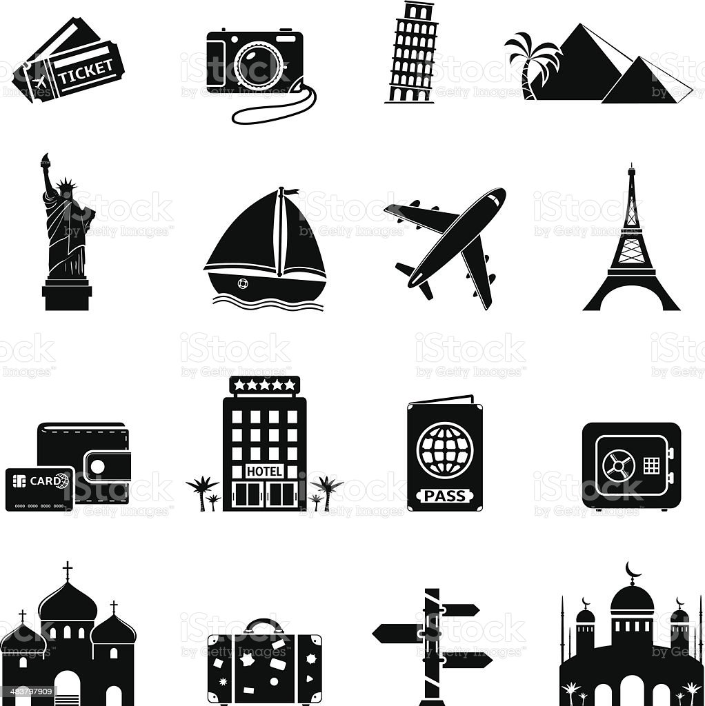 Travel and Landmarks icons royalty-free stock vector art