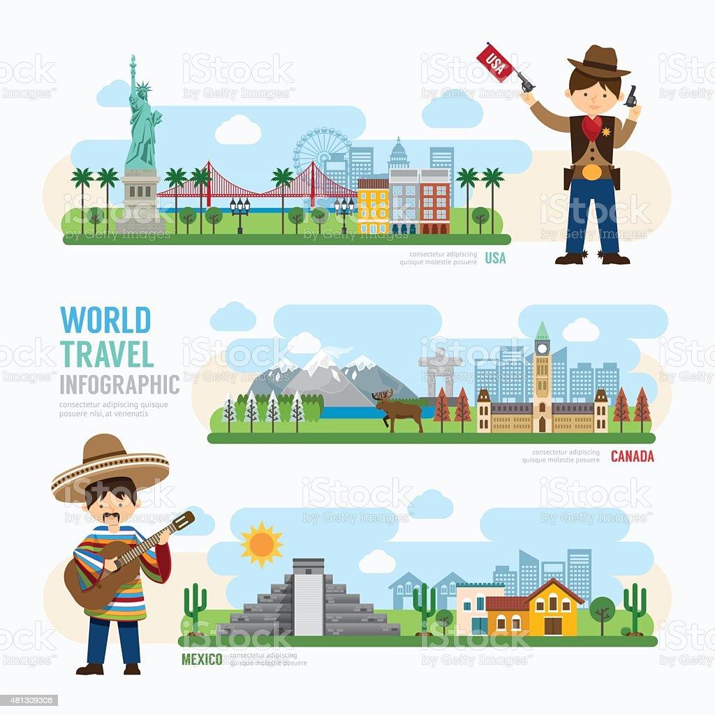 Travel and outdoor Landmark mexico, canada, usa Template Design vector art illustration