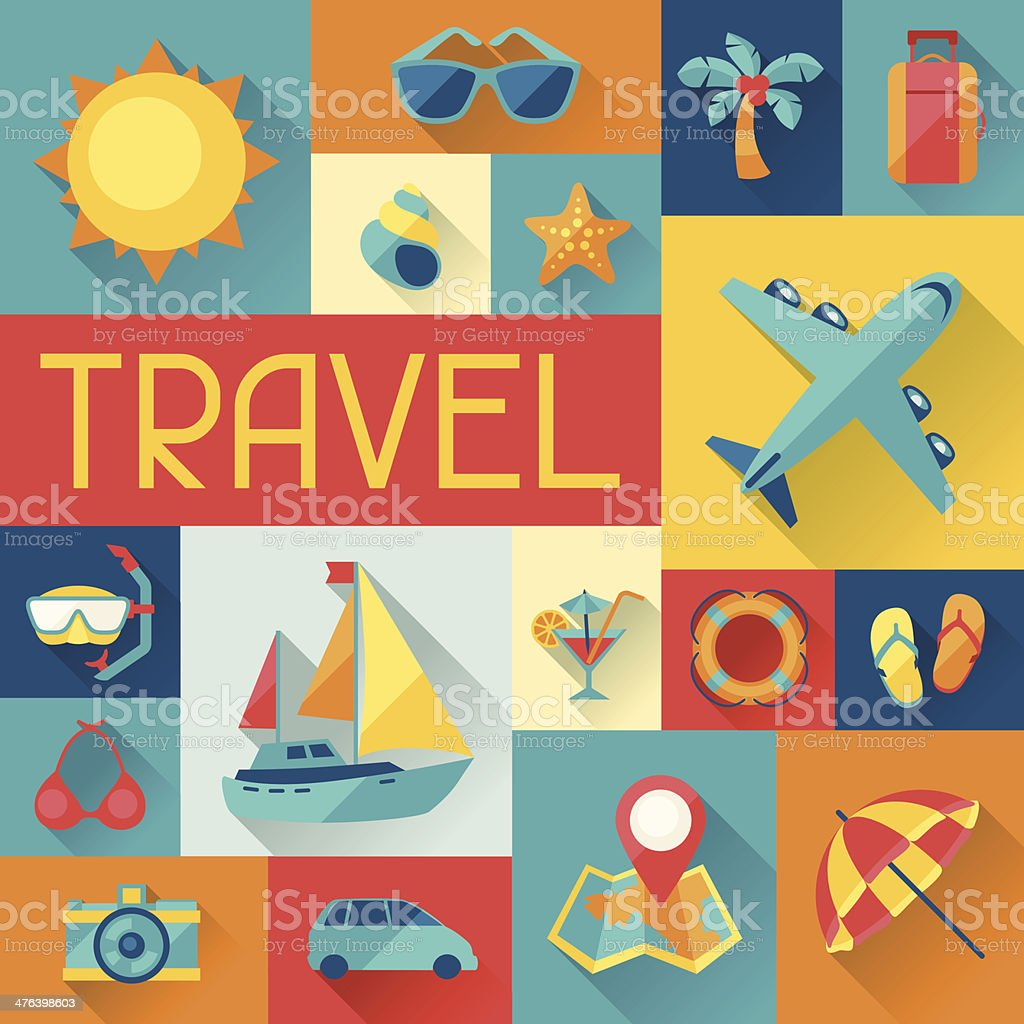 Travel and tourism background in flat design style. vector art illustration