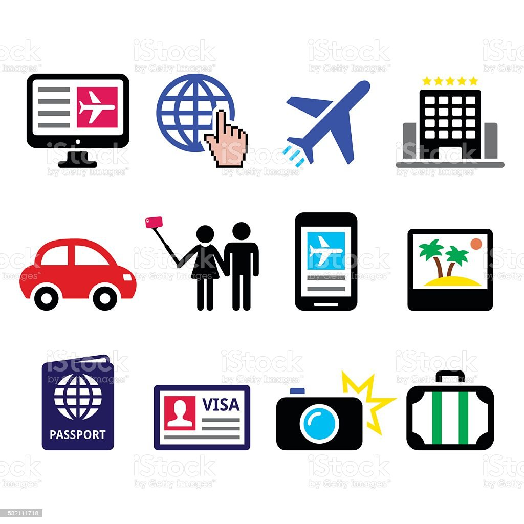 Travel and tourism, booking holidays icons set vector art illustration