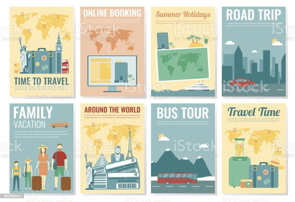 Travel and Tourism brochure set. Template of magazine, poster, book cover, banner, flyer. Vector vector art illustration