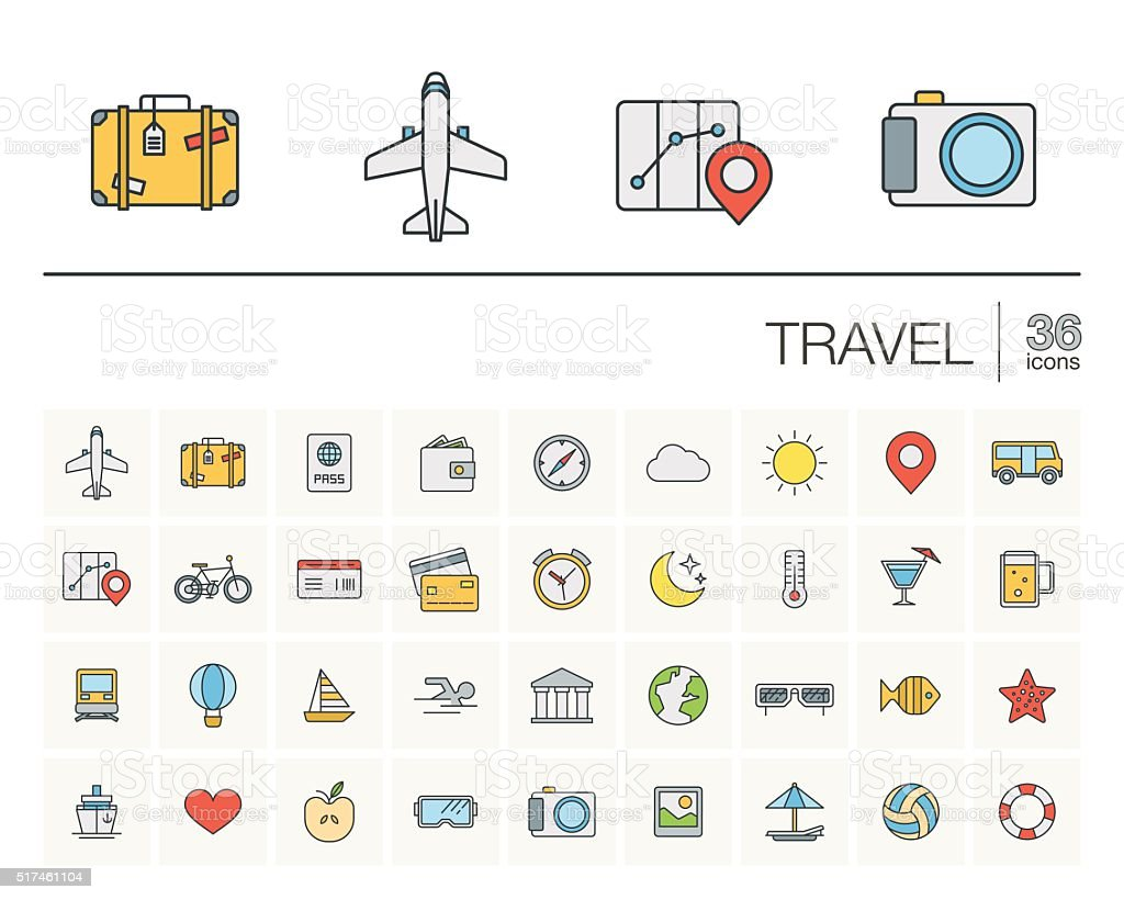 Travel and tourism color vector icons vector art illustration