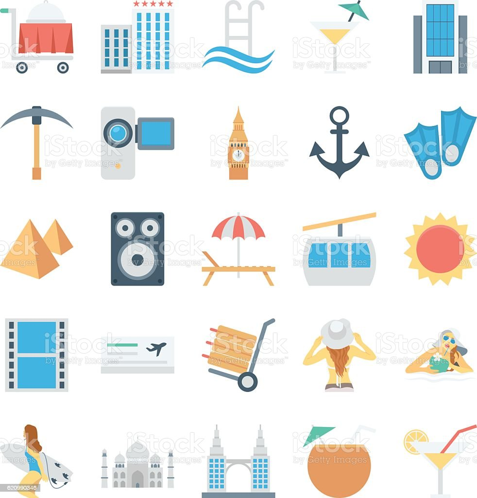 Travel and Tourism Colored Vector Icons 3 vector art illustration