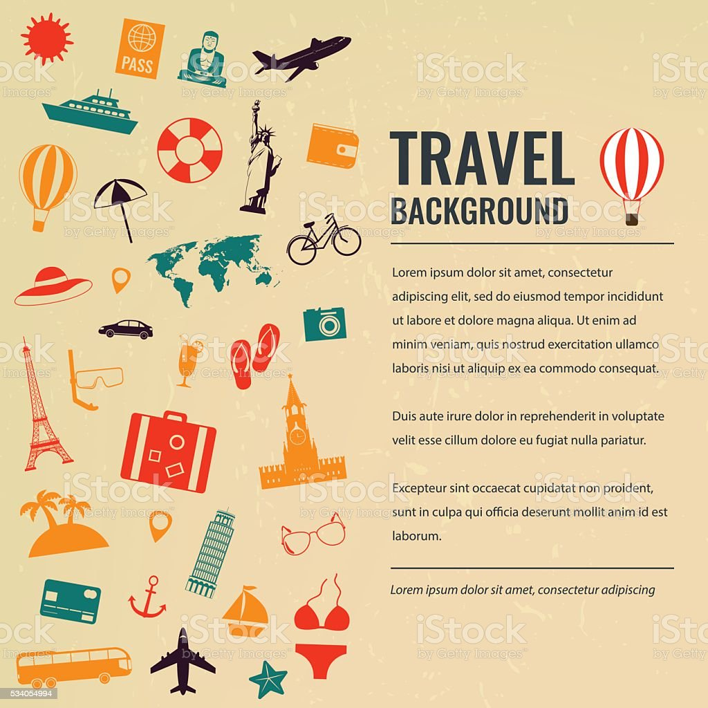 Travel and tourism concept. Travel background. Vector royalty-free stock vector art