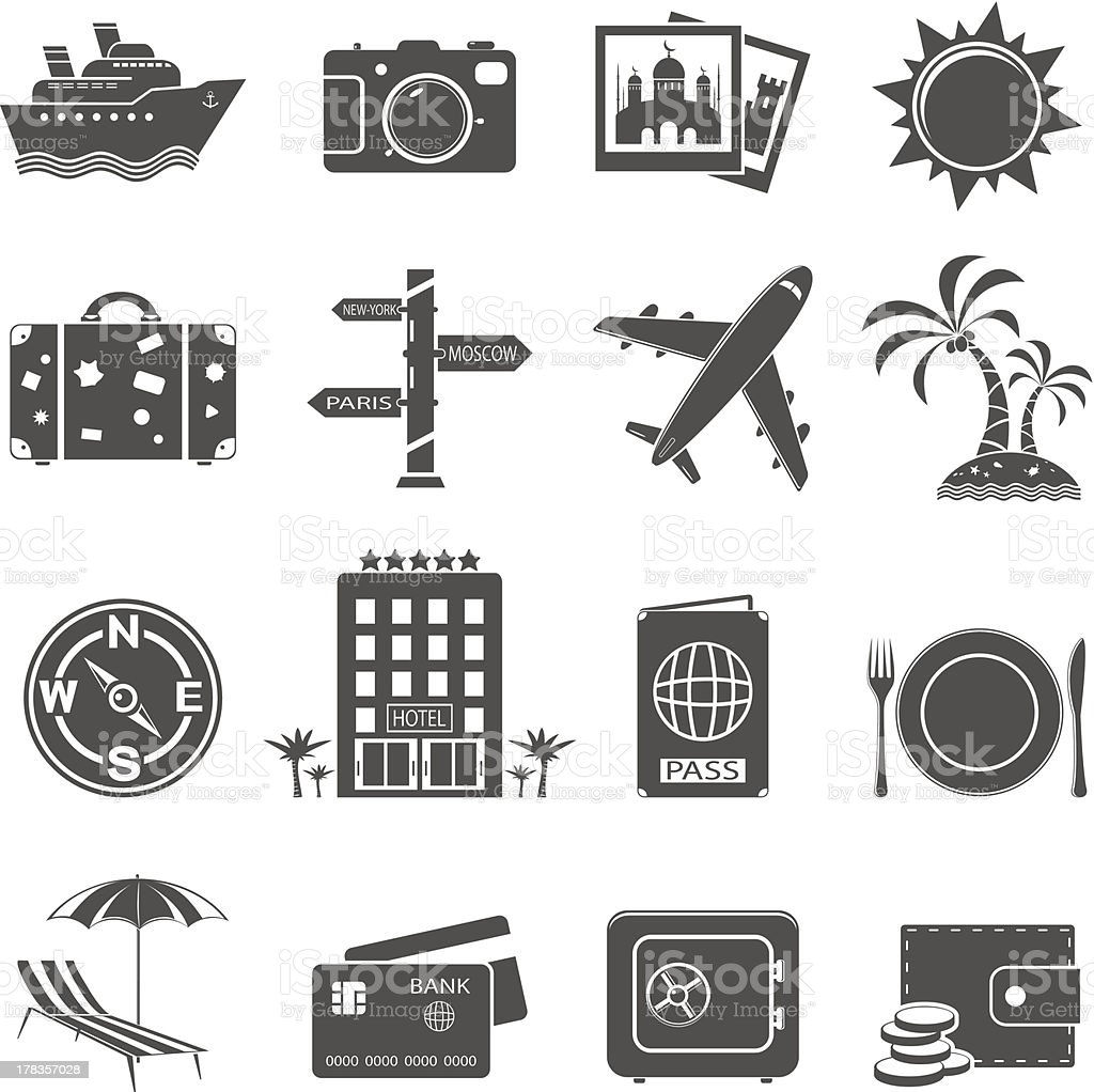 Travel and tourism icon set royalty-free stock vector art