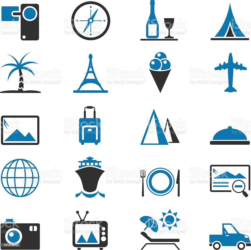 Travel and Tourism icon set vector art illustration