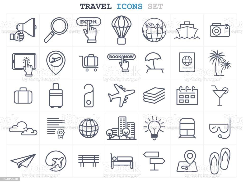 Travel and Tourism icons set flat design vector art illustration